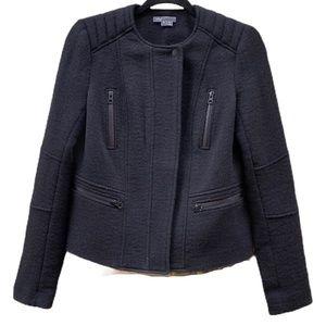 VINCE Black Wool Blend Boucle Moto Jacket Size 6